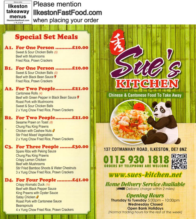Sue S Kitchen Ilkeston Takeaway Menus Chinese Cantonese