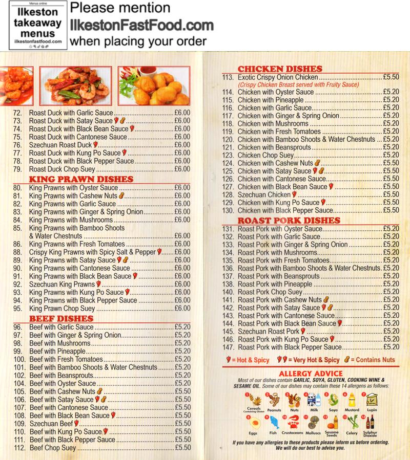 Sue s kitchen ilkeston takeaway menus for Perfect kitchen takeaway menu